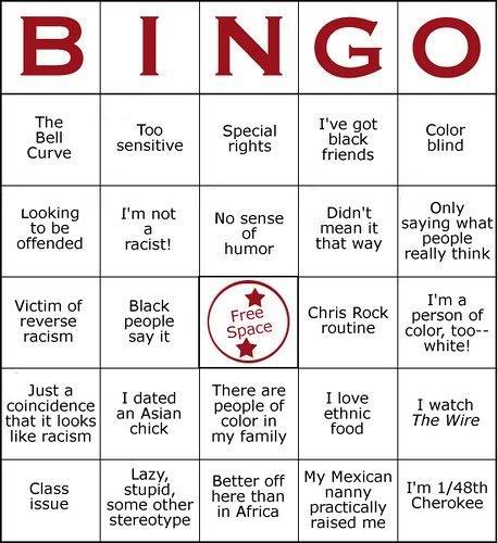 racism bingo